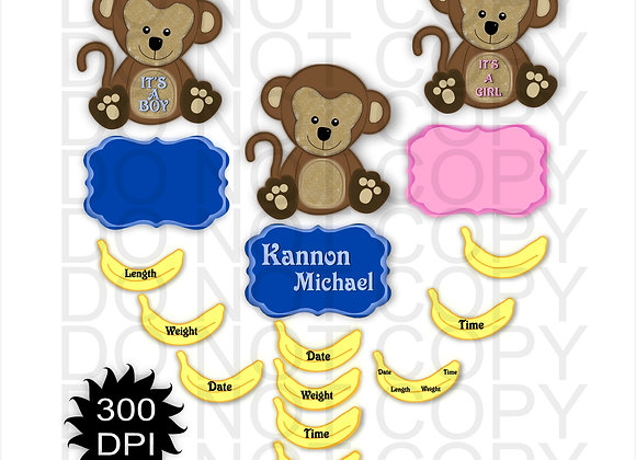 Monkey with Bananas SUBLIMATION DESIGNS DIGITAL DESIGN