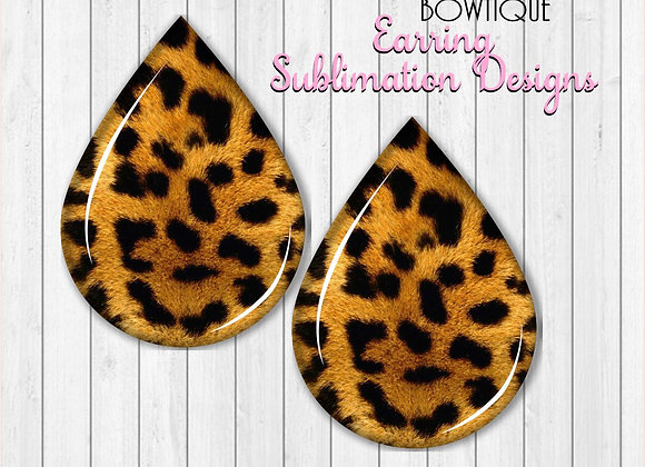 "LEOPARD PRINT ANIMAL PRINT  2"" Earring Sublimation Design Teardrop Downlo"