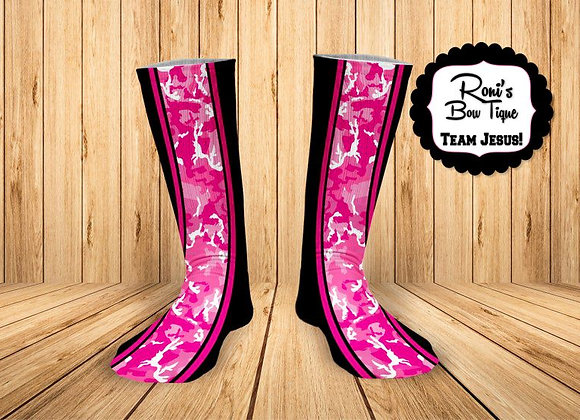 Black with Pink Camo Printed Socks  Great Gift for Her