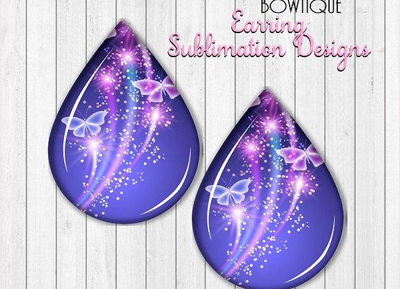 """NEON BLUE PURPLE GLOWING BUTTERFLIES 2"""" Earring Sublimation Design Teardrop PNG"""