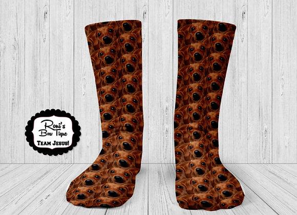 DACHSHUND DOG PUPPY Printed Socks Fun Socks