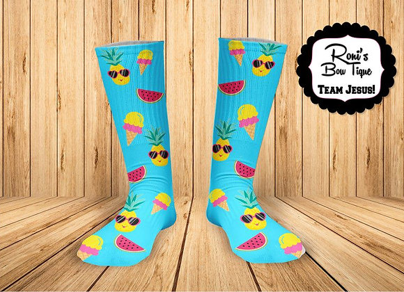 Summer Fun Pineapple Ice Cream Watermelon Printed Socks