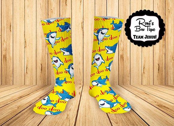 Baby Shark doo doo doo Printed Socks Yellow Blue