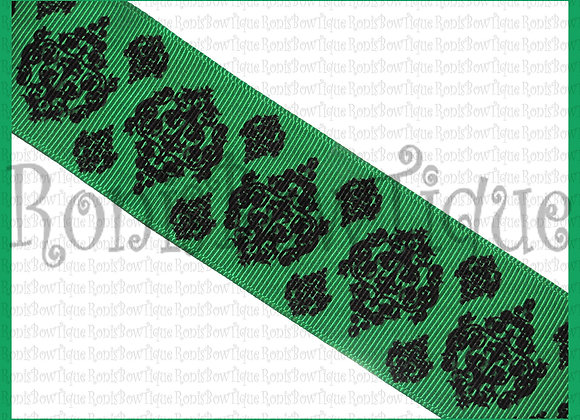 GREEN DAMASK TOILE PRINT by the ROLL