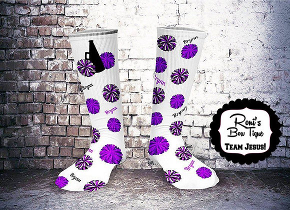Cheer Spirit Purple Black White Printed Socks Customized with Your Name