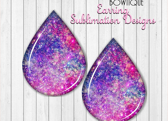 "GALAXY GLITTER 2"" Earring Sublimation Design Teardrop D"