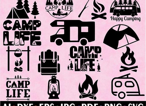 CAMPING HAPPY CAMPER CAMP LIFE SVG Cut Files ClipArt Bundles