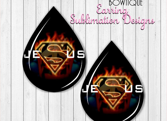 "SUPERMAN JESUS SUPER HERO 2"" Earring Sublimation Design TearDROP PNG"