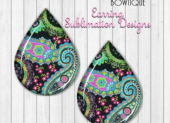 "BLACK PINK BLUE GREEN PAISLEY PRINT 2"" Earring Sublimation Design TearDROP"