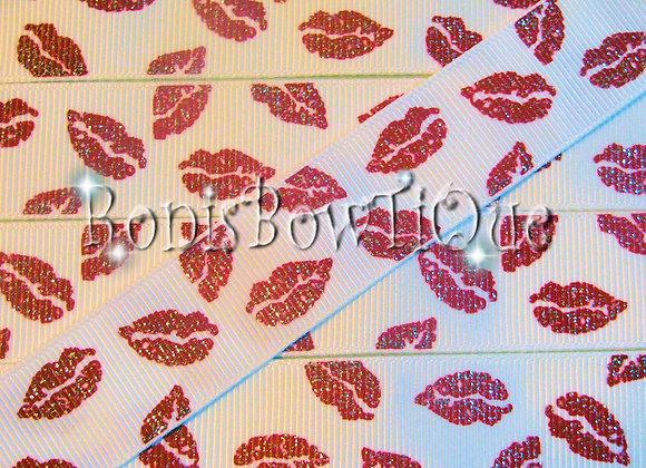 GLITTER KISSES WHITE & RED Glitter Ribbon