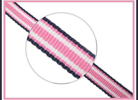 "3/8"" Navy Pink Surfboard  Stripe Ribbon - 1 YARD"