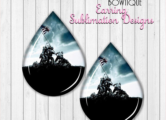 """SOLDIERS RAISING AMERICAN FLAG  2"""" Earring Sublimation Design TearDROP PNG"""