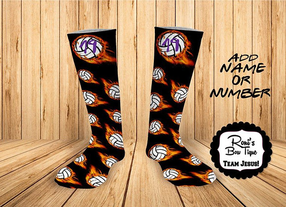 Fire flamed Volleyball Printed Sock- Add  your Team Number
