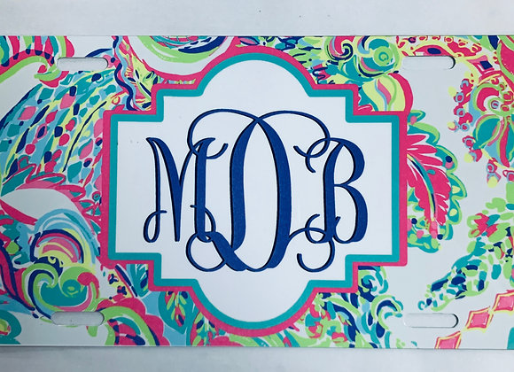 Monogram Bright Colors Personalized License Plate Car Tag