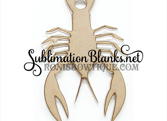 Set of 2 ACRYLIC BLANK CRAWFISH Keychain Clear CHOICE Hole vent clip badge reel