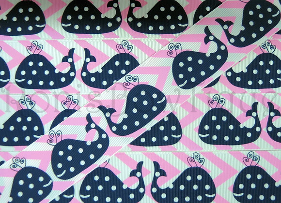 "1.5"" NAVY PINK CHEVRON WHALES RIBBON"