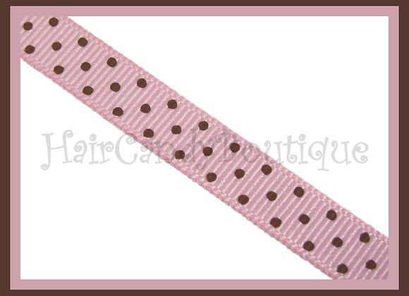 Pink with Brown Swiss Dots RIBBON