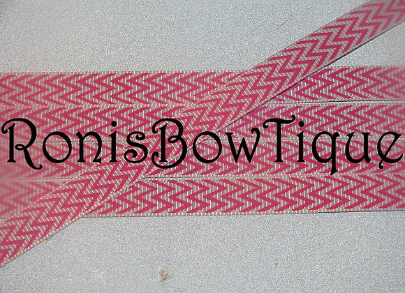 "3/8"" HOT PINK WHITE CHEVRON ZIG ZAG PRINT"