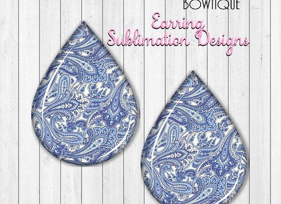 "WHITE LIGHT BLUE PAISLEY PRINT  2"" Earring Sublimation Design TearDROP DOWNLOAD"