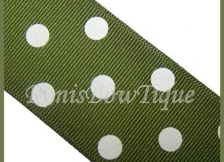 Olive Green with White Polka Dots RIBBON