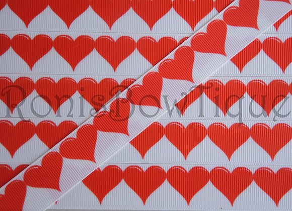 "7/8"" RED WHITE HEARTS RIBBON"