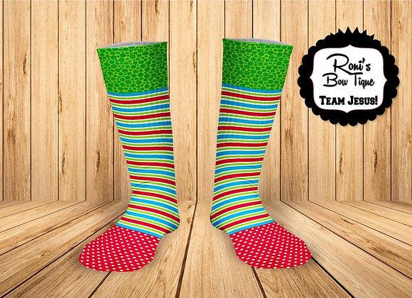 Polka and Stripe Red Green Blue Printed Socks Fun Socks