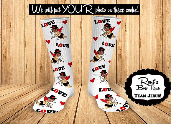 Cupid Love Socks Personalized Socks with pictures Valentines Day Gifts
