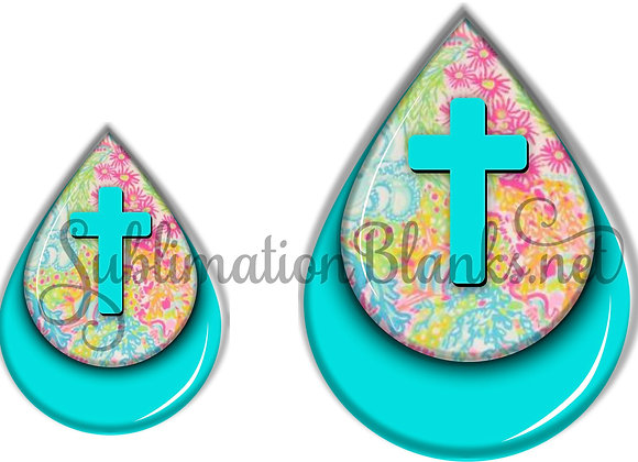 CROSS Turquoise Flowers GLITTER Sublimation Designs Teardrop Digital Designs