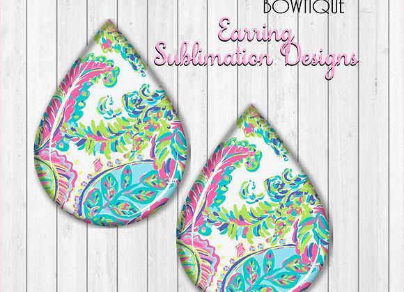 """FLOWER PRINT 2"""" Earring Sublimation Design TearDROP Digital DOWNLOAD PNG"""
