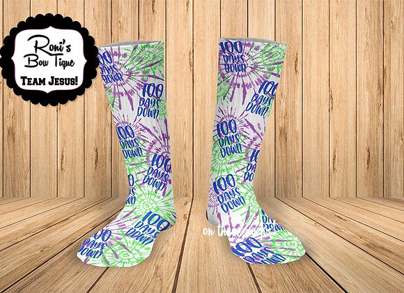 100 DAYS OF SCHOOL TIE DYED Printed Socks GREAT TEACHER or STUDEN