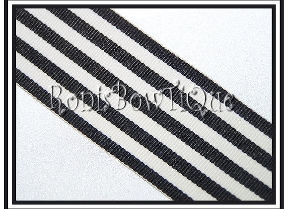 Black Monarch Stripe Ribbon 1 YARD