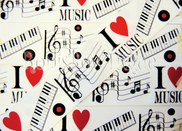 "1.5"" 80s VINYL RECORD I LOVE MUSIC RIBBON"