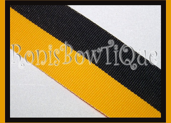 Black Gold Bi Stripe Cheer Collegiate Ribbon