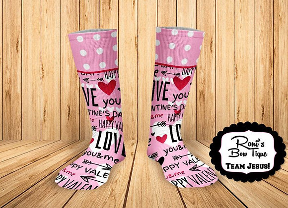 Pink Polka Dot Love Phrase Sock Printed Socks Valentines Socks