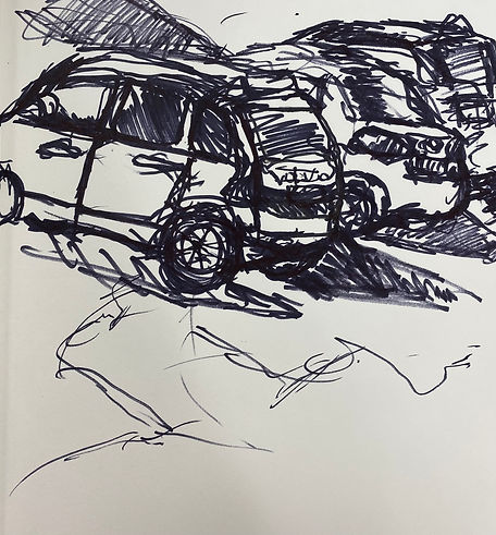 Continuous line cars in parking lot