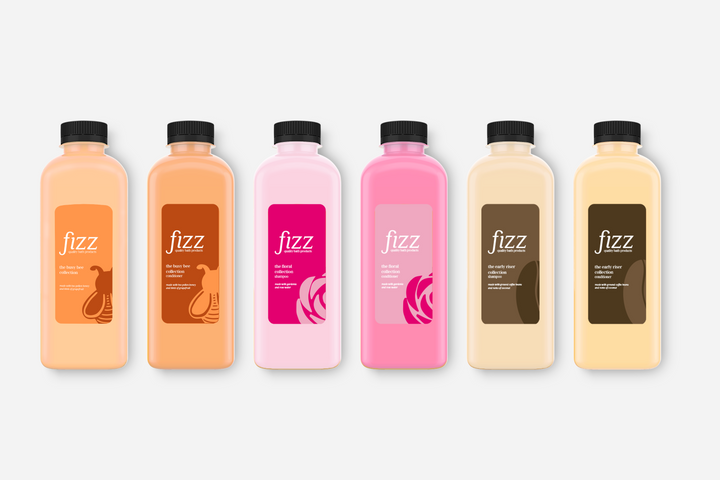 The first half of each collection's shampoo and conditioner packaging.