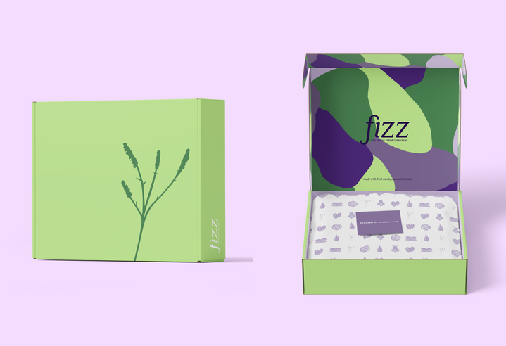 """The """"stress relief collection"""", made with fresh eucalyptus and lavender."""