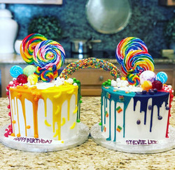 DOUBLE RAINBOW DRIP CAKE