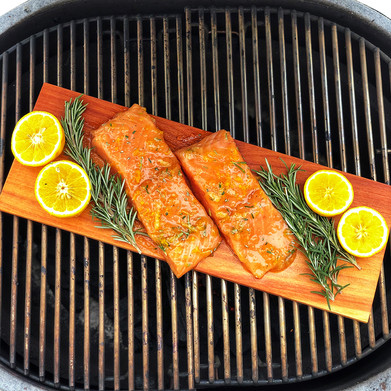 Orange and Whiskey Glazed Cedar Plank Salmon