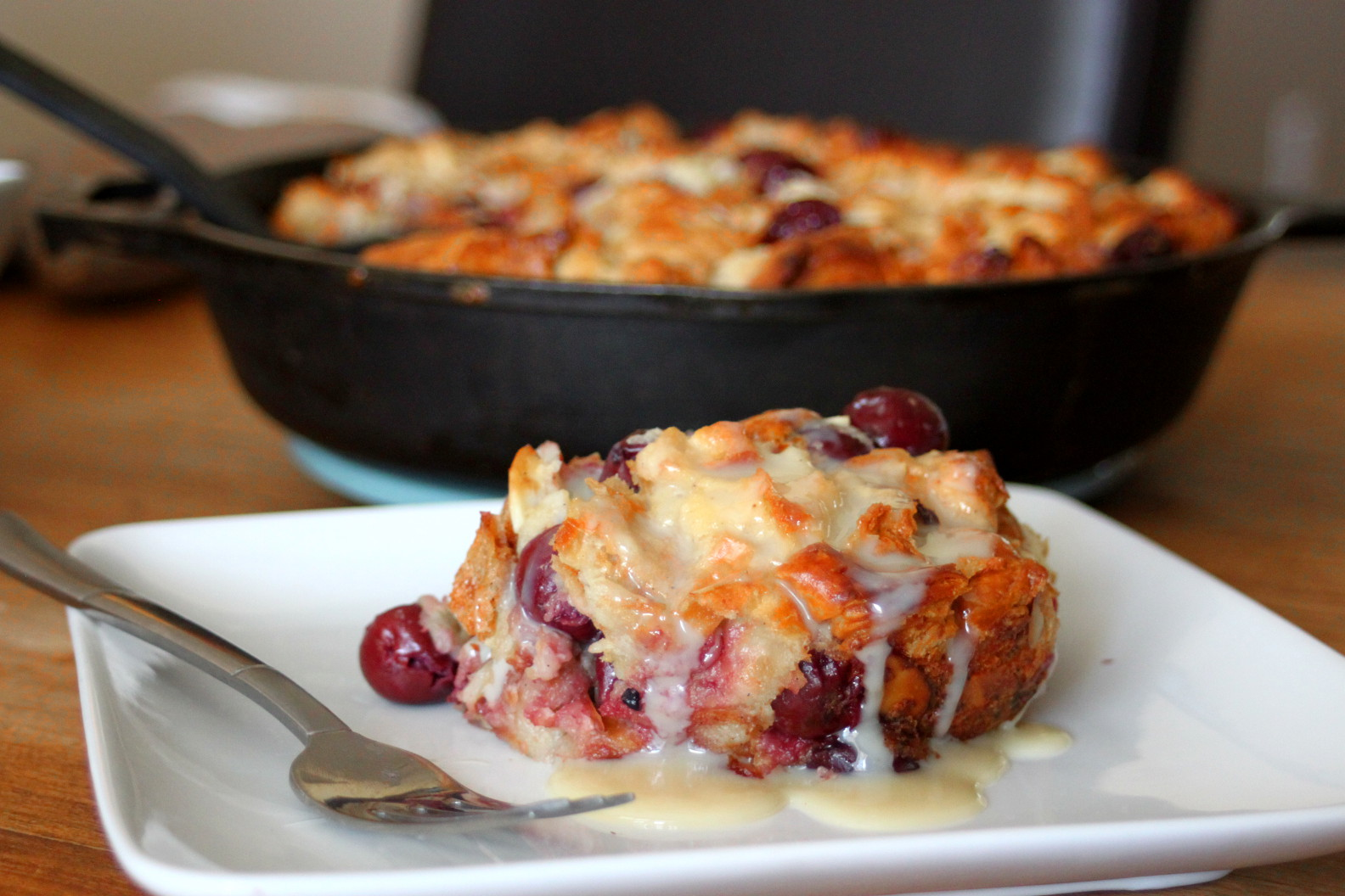 Cherry Almond Bread Pudding with Fireball Whiskey Glaze