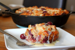 Cherry Almond Bread Pudding with Fireball Whiskey Glaze