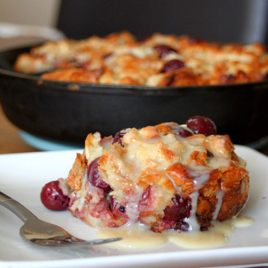 Cherry Almond Croissant Bread Pudding with Cinnamon Whiskey Glaze