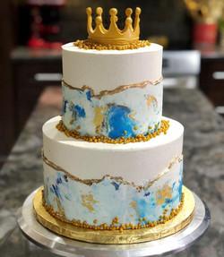 MARBLED BUTTERCREAM BABY SHOWER CAKE