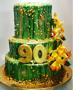 MIRROR GLAZE 90TH BIRTHDAY CAKE