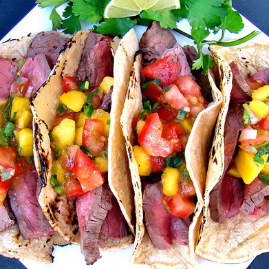 Aussie Grass-Fed NY Strip Tacos with Mango Salsa