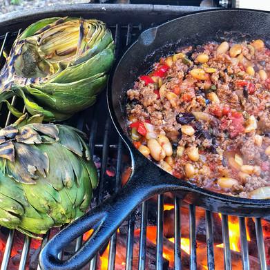 Italian Puttanesca Grilled Artichokes