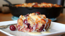 Cherry Almond Croissant Bread Pudding with Fireball Whiskey Glaze