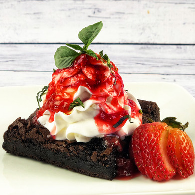 Smoked Brownies with Strawberry Reduction
