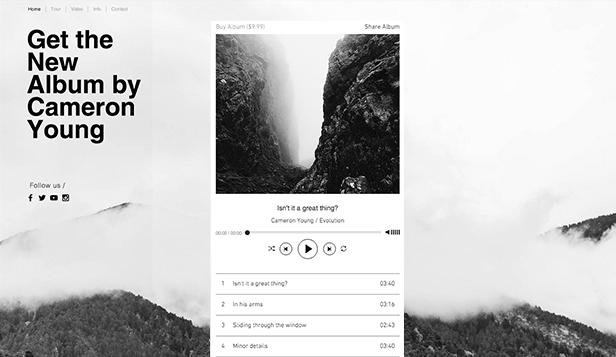 Musik website templates – Indie-Einseiter