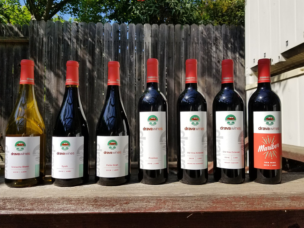 Newest bottlings - 2019 Grenache Blanc, 2018 Syrah, Petite Sirah, Primito, Morh-Fry Vineyard Zin, Wegat Vineyard Zin, and Maribor Red Blend